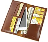 Chiara Collection Men's, Women's Genuine Leather Long Wallet Card Holder Phone Case (Brown)