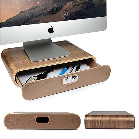Urcover® Soporte para Pantalla Ordenador de bambú Elevador de Monitor, Ordenador/portátil,