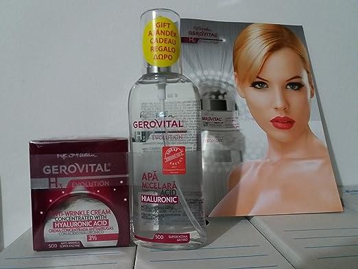 Gerovital H3 Evolution Pack 2x1 Crema antiarrugas concentrada con ácido hialurónico 3%+Agua Micelar con ácido hialurónico: Amazon.es: Belleza