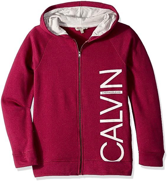 408afae59 Calvin Klein Sudadera con Capucha y Cierre Frontal para niñas pequeñas,  Berry, 4