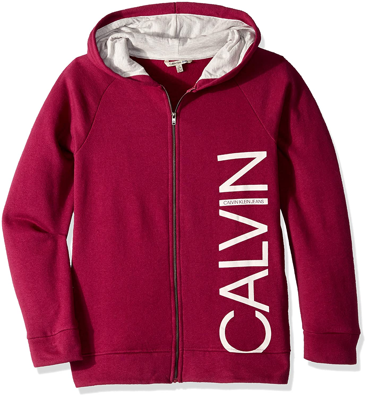 a10e6a30f Amazon.com: Calvin Klein Girls' Logo Zip Front Hoodie: Clothing