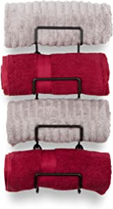 Wallniture Moduwine Wall Mounted Towel Rack, Rustic Wall Decor and Bathroom Organizer for Bath Towels Set, Stackable Storage Rack of 4 with 2 Hooks, Black