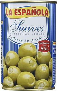 La Española - Aceitunas Verdes Rellenas De Anchoa Suaves - [Pack de 4]
