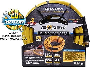 """Air Hose BluBird 3//8/"""" x 25/' Heavy Duty 100/% Rubber Air Hose 10 Yr Warranty"""
