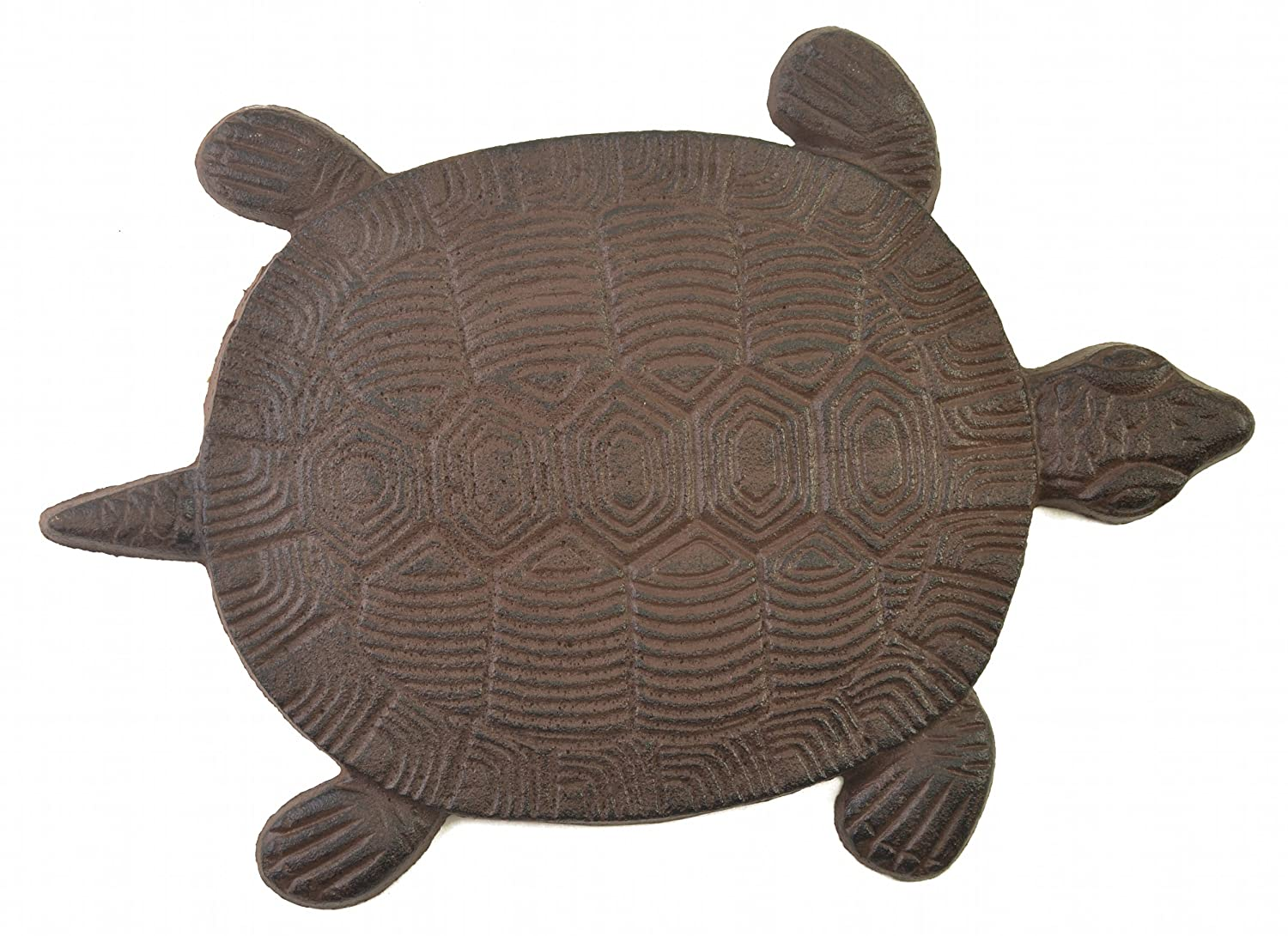 Turtle Stepping Stone Cast Iron Outdoor Yard and Garden Decor Brown
