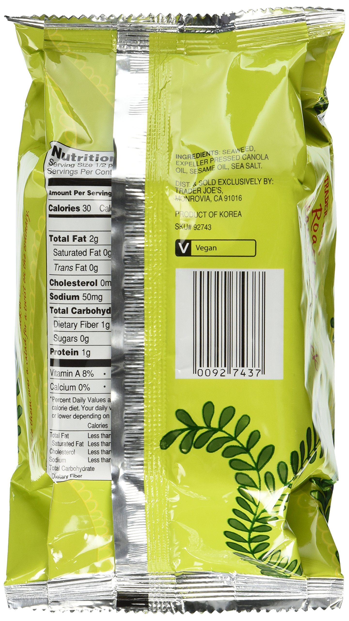 Trader Joe's Roasted Seaweed Snack, Net Wt. 0.4 oz(11.3g)per pack  (Pack of 6) by Trader Joe's