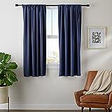 "AmazonBasics Room-Darkening Blackout Curtain Set- 42"" x 63"", Navy"