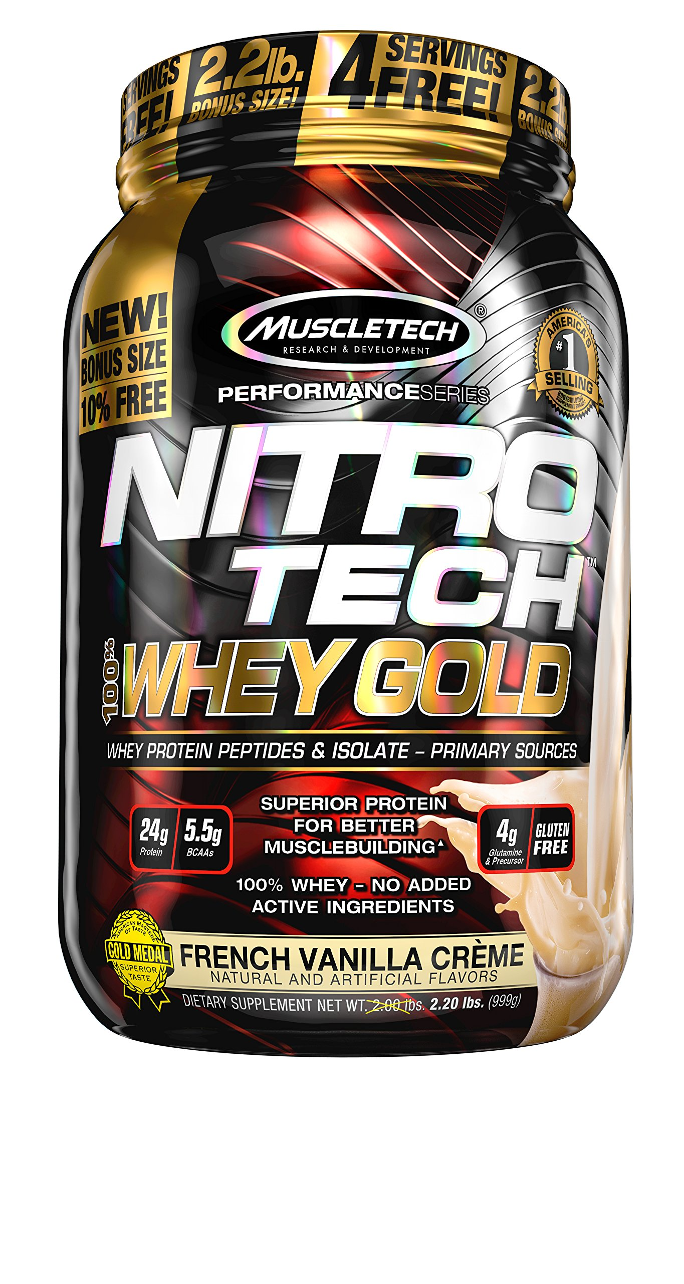 Amazon.com: MuscleTech NitroTech Whey Gold, 100% Whey Protein Powder, Whey Isolate and Whey ...