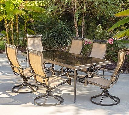 Incredible Amazon Com Hanover Monaco 7 Piece Dining Set With Six Sling Frankydiablos Diy Chair Ideas Frankydiabloscom