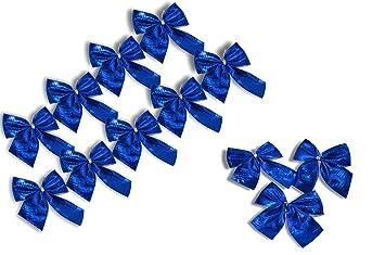 Schleifen Weihnachtsbaum.12er Set Metallic Zierschleifen Schleifen Weihnachtsbaum Deko Weihnachtsdeko Gesteckdeko Aus 4 Farben Wählbar Metallic Blau