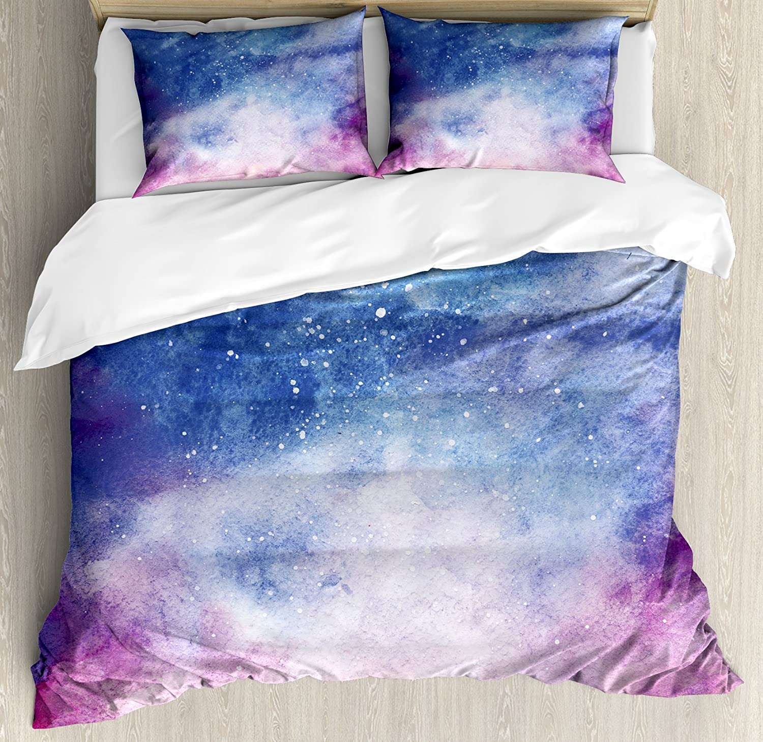 Ambesonne Navy and Blush Duvet Cover Set, Watercolor Style Starry Space Galaxy Nebula Abstract Cosmos Inspired, Decorative 3 Piece Bedding Set with 2 Pillow Shams, Queen Size, Salmon Pink