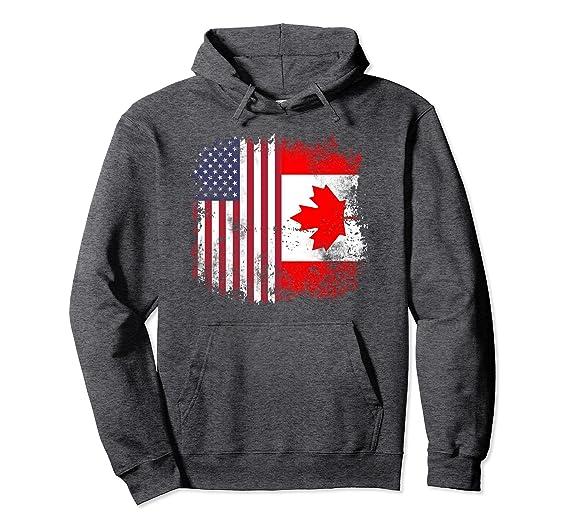 681b4c6bad07 Unisex Canadian American Flag - America USA Canada Hoodie Pullover 2XL Dark  Heather