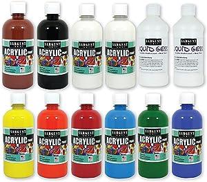 Sargent Art (SARAD) 16oz Acrylic Paint Set, 9 Colors, 2 Gesso, 16 Oz, Assorted 12 Piece