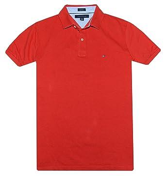 Tommy Hilfiger de Hombre Custom Fit Polo T Shirt - Rojo -: Amazon ...