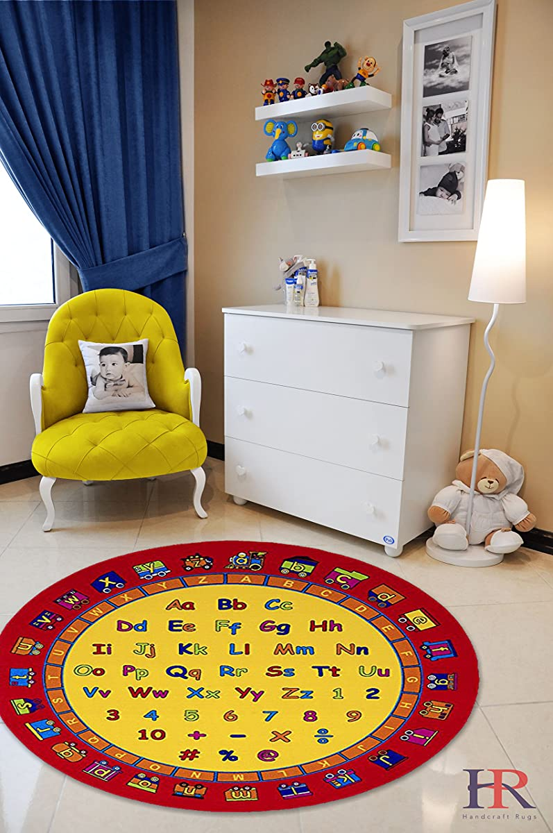 Handcraft Rugs- Round Kids Rugs Letters and Mathematics Classroom Rugs Non-Slip Rubber Back 7.7 ft. ABCD Fun