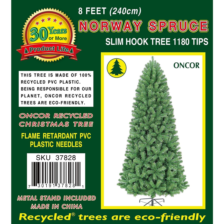 Amazon.com: Oncor 8\' Slim Norway Spruce Artificial Christmas Tree ...