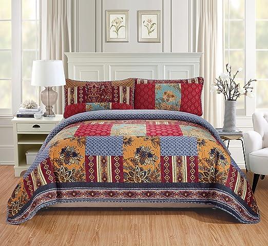 Fancy Linen Oversize Reversible Bedspread Floral Burgundy Beige All Sizes New