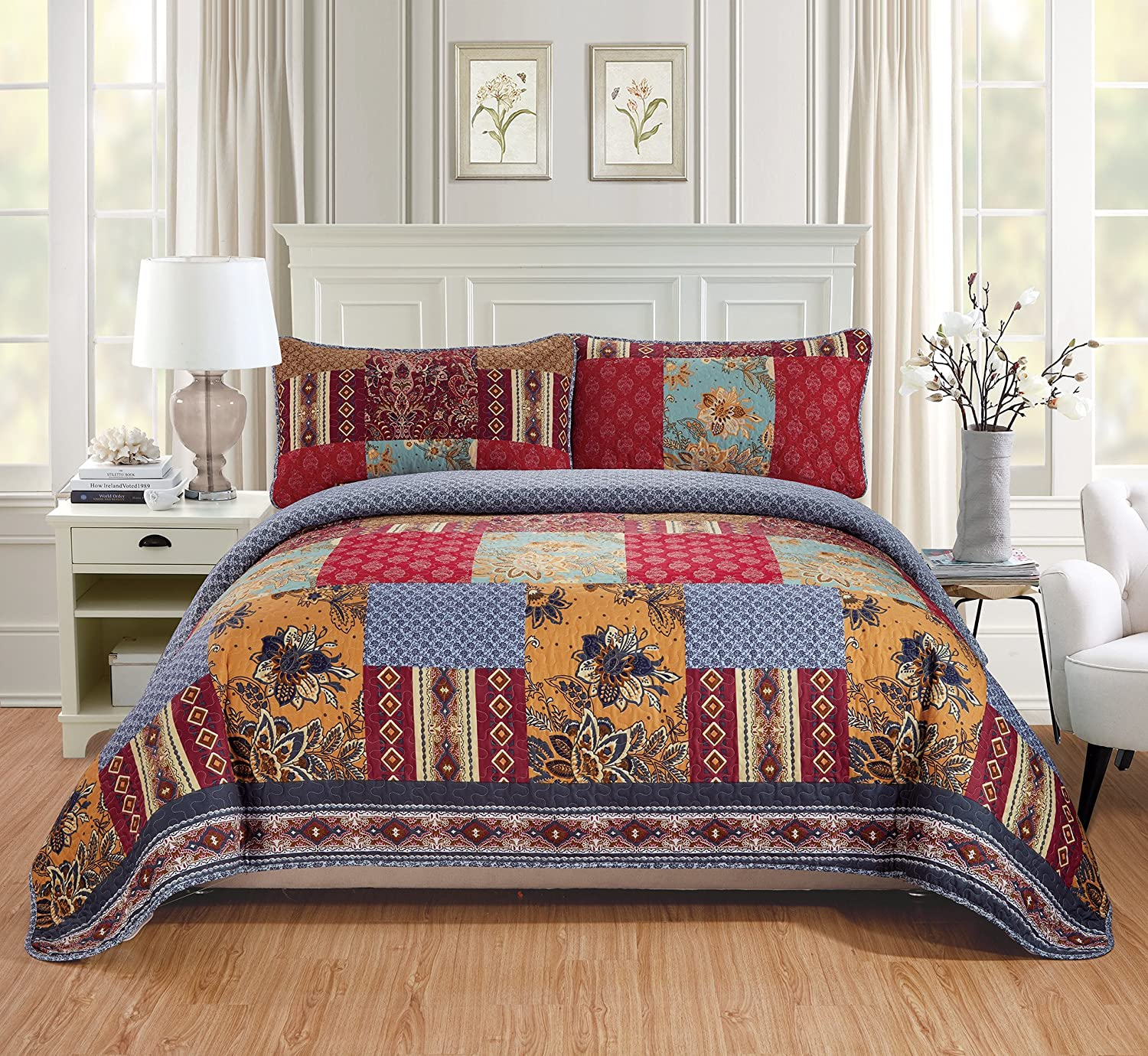 MK Home 2pc Twin/Twin Extra Long Over Size Quilted Coverlet Bedspread Set Patchwork Floral Flower Squares Red Navy Blue Ivory Burgundy New # Verona