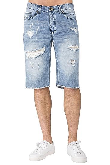 fb21e2e5d46c1 Level 7 Men s Light Blue Relax Premium Denim Cut Off Shorts Distressed  Mended Raw Edge Size