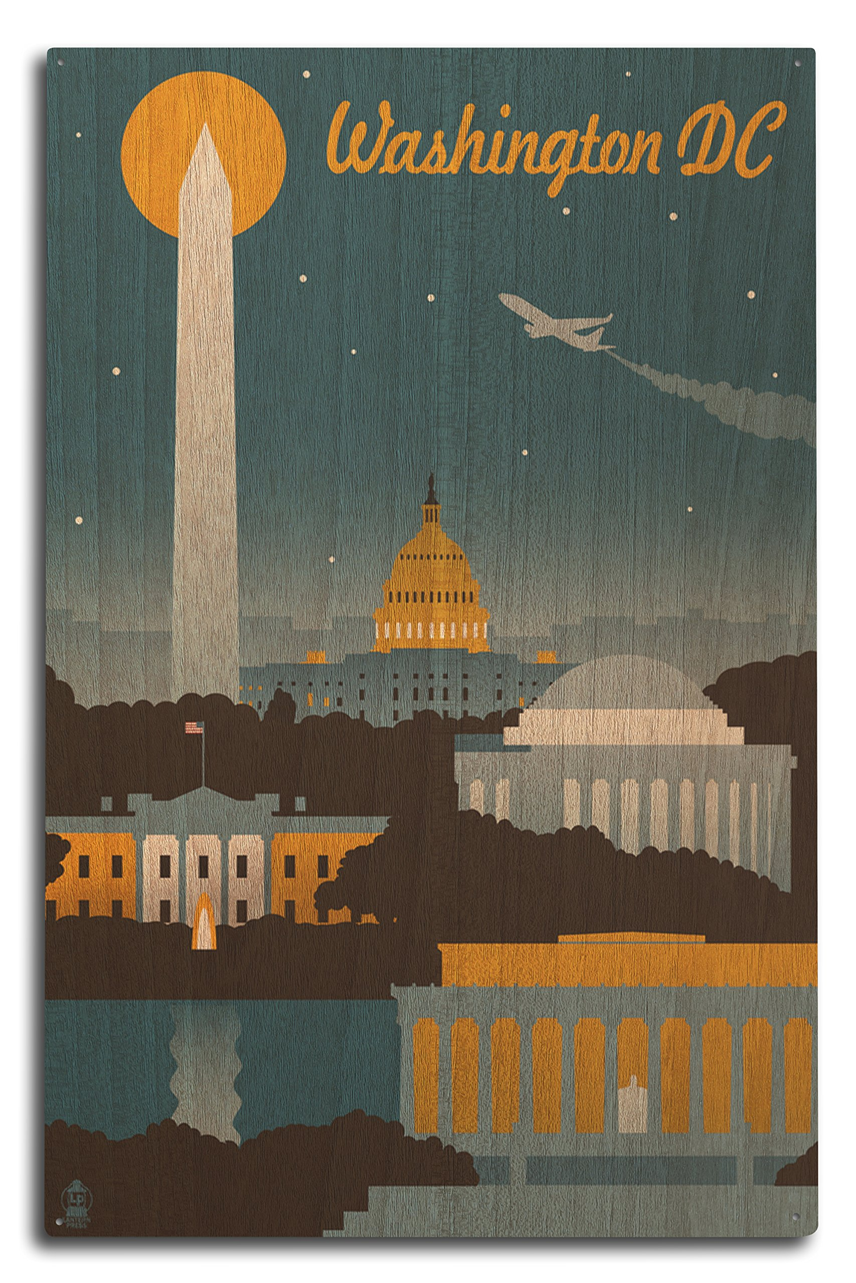 Lantern Press Washington, DC - Retro Skyline (10x15 Wood Wall Sign, Wall Decor Ready to Hang)