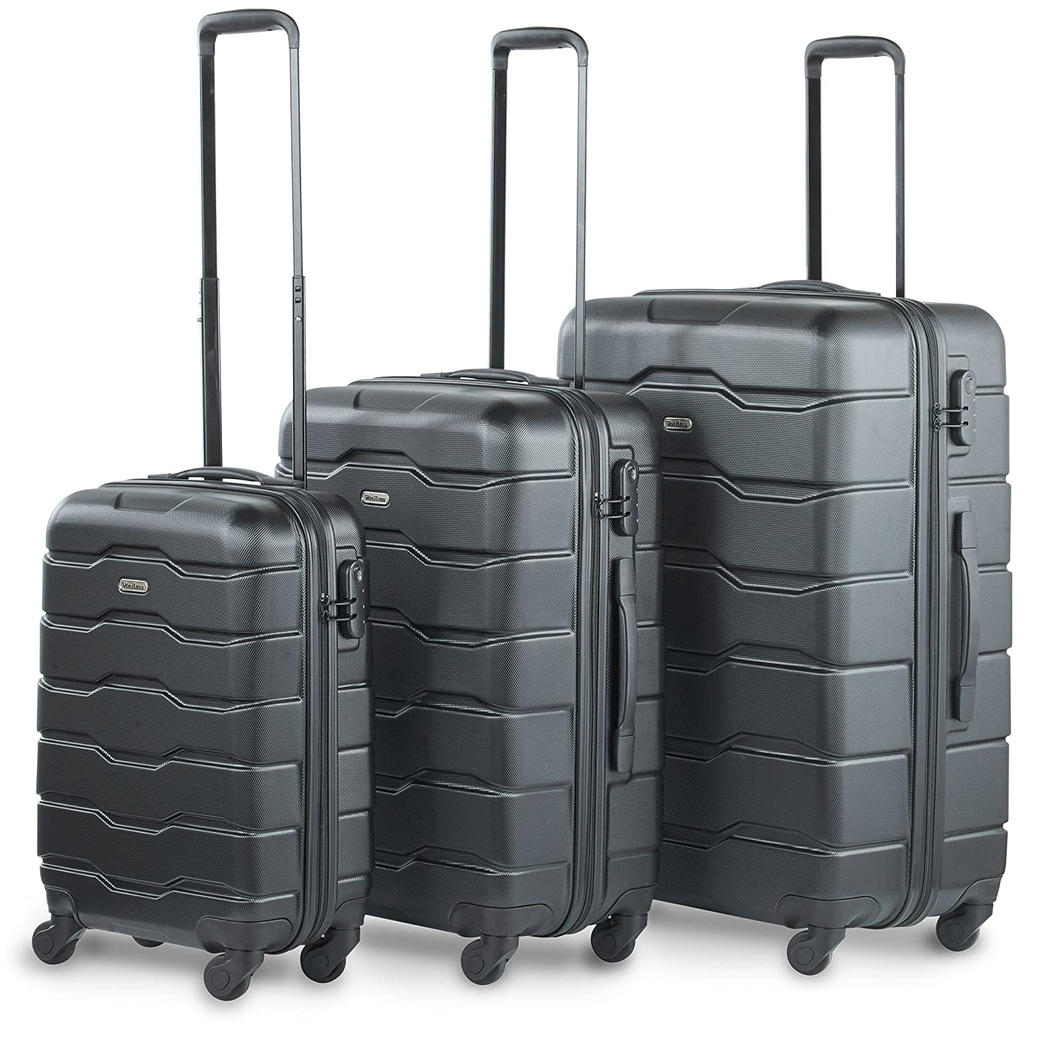 "195f67f3758d VonHaus Luggage Set of 3 ABS Lightweight Hard Shell Black Suitcase - 4  Wheel 360° Spinner - Cabin Travel Trolley – (21"" 25"" 29"")"