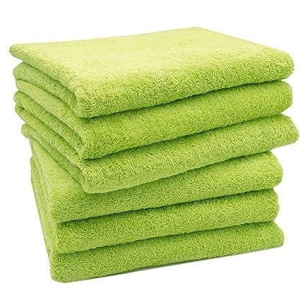 e4e7a720c2 ZOLLNER® Set di 6 Pezzi d'asciugamani 50x100 cm Verde Mela, Disponibili in
