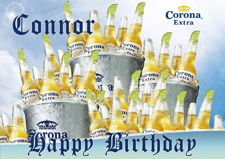 Corona Extra Topper Personalized Birthday 1/4 Sheet Decoration Custom Sheet  Party Birthday