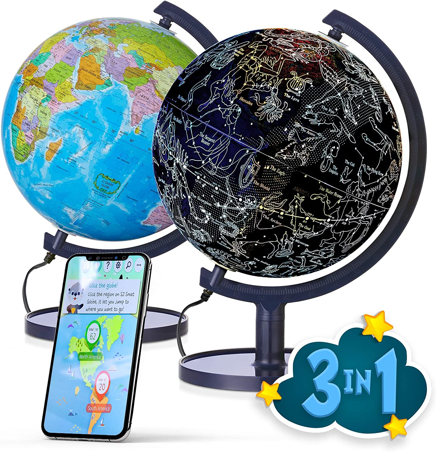 "SJ Smart Globe with Interactive APP & LED Illuminated Constellations at Night, DIY, Easy to Assemble, Educational Content for Kids, USB Cord Included, US-Patented STEM Toy, 10"" World Globe"