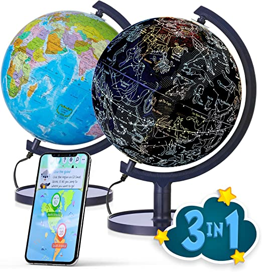 """Amazon.com: SJ Smart Globe with Interactive APP & LED Illuminated Constellations at Night, DIY, Easy to Assemble, Educational Content for Kids, USB Cord Included, US-Patented STEM Toy, 10"""" World Globe: Office Products"""