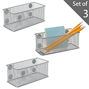 Set of 3 Metal Mesh Magnetic Storage Bins, Office Supplies Organizer Baskets, Silver
