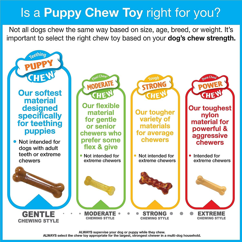 Juguete masticable con forma de hueso artifical X y sabor a carne para cachorros Nylabone