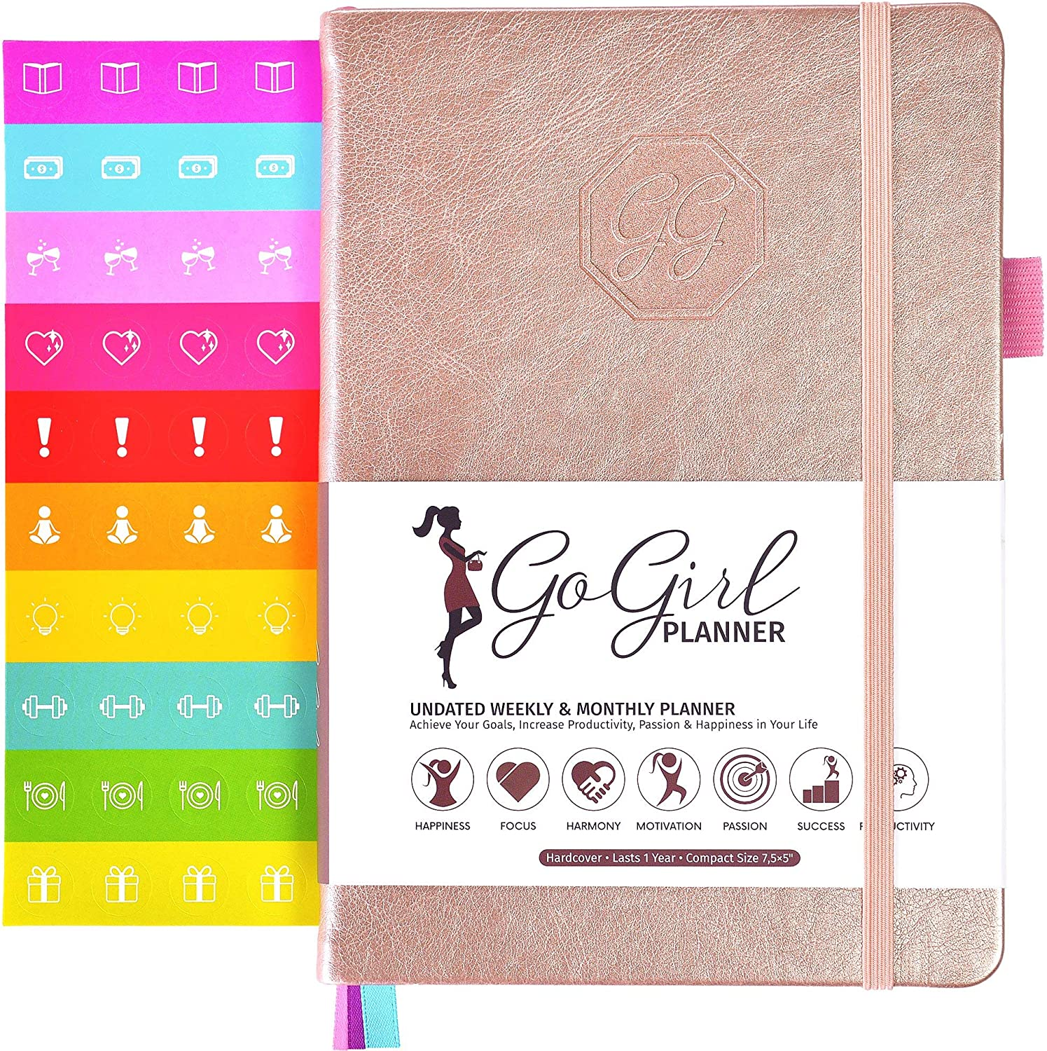 Start Anytime GoGirl Planner and Organizer for Women Goals Journal /& Agenda to Improve Time Management Compact Size Weekly Planner Lasts 1 Year Productivity /& Live Happier Undated Light Blue