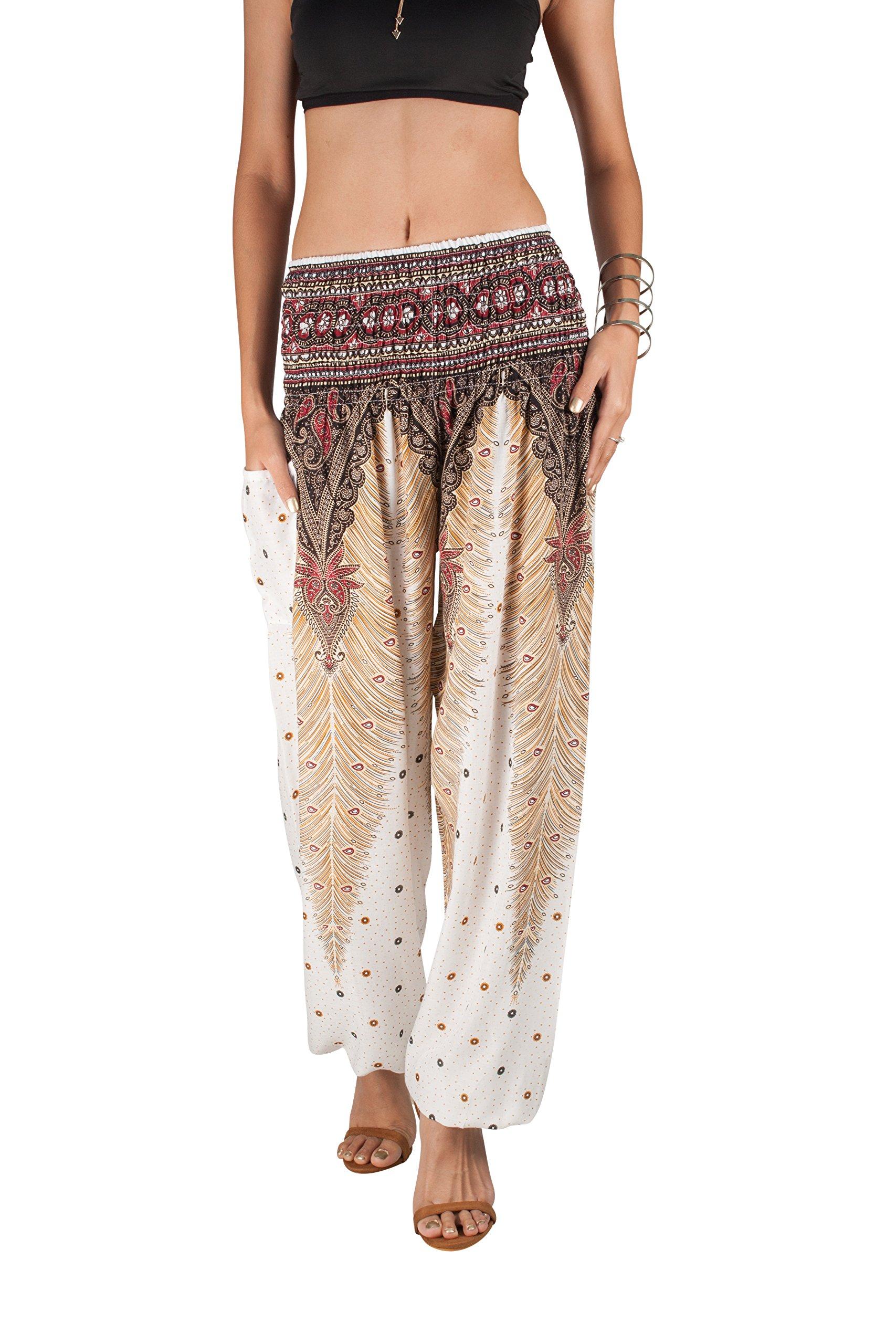 JOOP JOOP Bohemian Tapered Elephant Harem Loose Yoga Pants, White, S/M