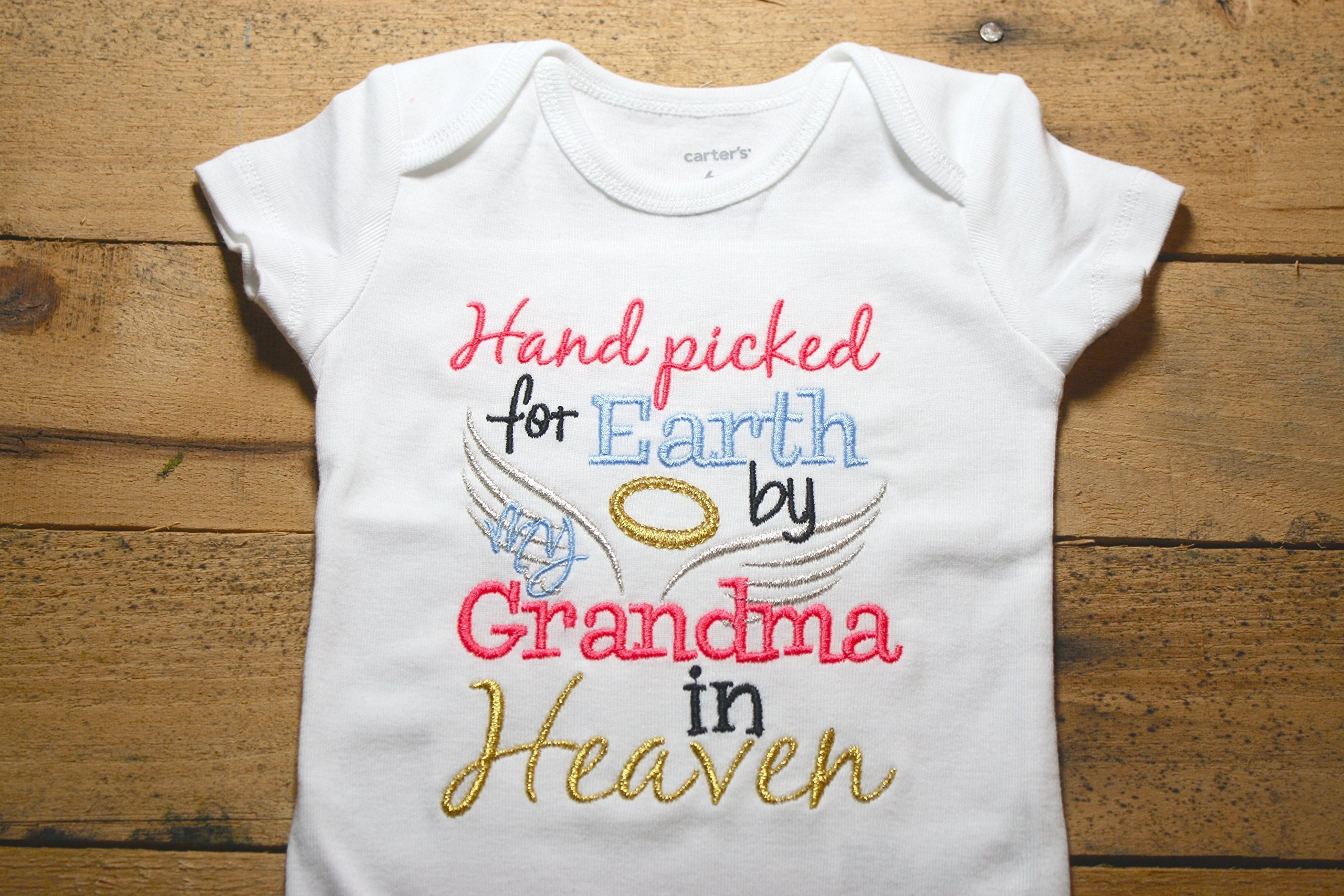 Embroidered Bodysuit Handpicked for Earth by my Grandma in Heaven Baby Shower Gift Pink Hand Picked Bodysuit Blue My by Seaux Sweet Embroidery