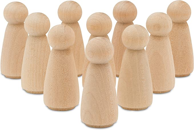 10Pcs Acorn Unfinished Blank Wooden Peg Doll 35*24mm Kid Creative Toy Craft