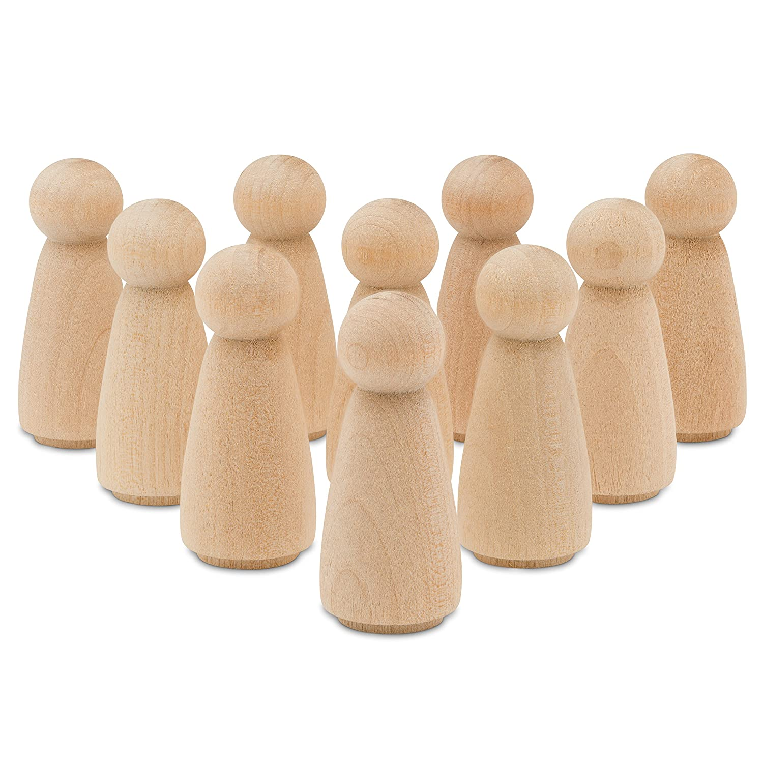 Unfinished Wood Angel Dolls 2 inch | Bag of 50 Angle Peg Dolls | From Birch - By Woodpeckers BCAC22790