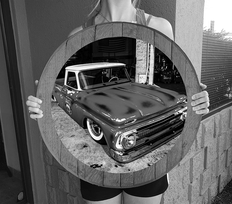 American Hot Rod Patina Pickup Truck Man Cave Wall Decor Barnwood Gray Wall Decor Whiskey Barrel Lid