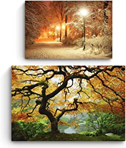 Startonight Canvas Wall Art | Nature | Maple Tree and Winter in Park | Buy one Get Two | Bundle Offer | Modern Home Decoration | Ready to Hang Paintings