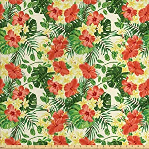 Ambesonne Tropical Fabric by The Yard, Exotic Pattern with Plumeria Hibiscus Monstera Palm Flowers and Leaves, Decorative Fabric for Upholstery and Home Accents, 1 Yard, Red Yellow