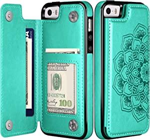 COOYA iPhone 5S/ 5 Case, iPhone SE 2016 Case (Not for iPhone SE 2020) Wallet Case with Card Holder Slot for Women Girls Protective Back Cover Leather Flip Phone Case for iPhone 5S/ 5/ SE 1st Gen 2016