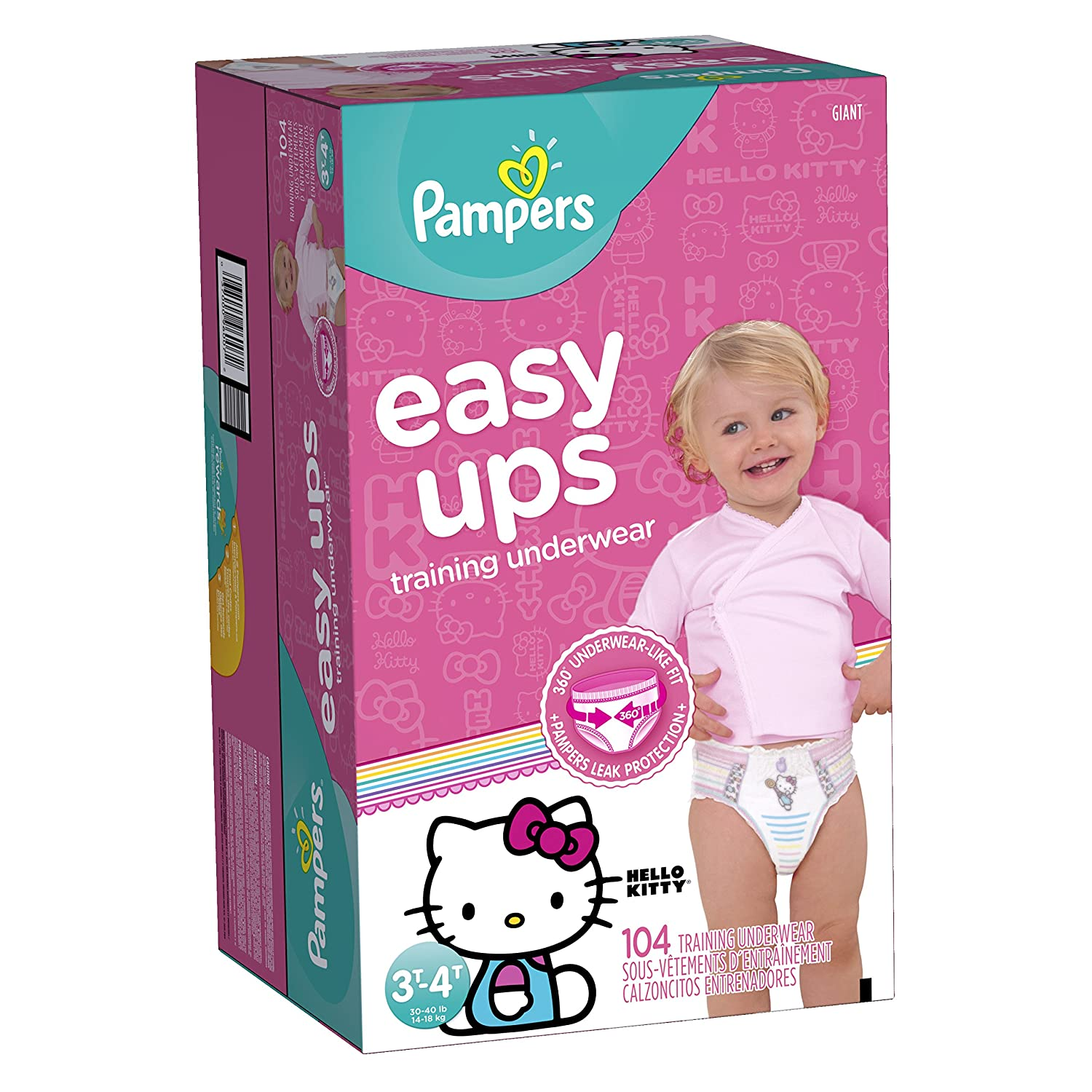 Pampers Easy Ups Pull On Disposable Training Diaper for Girls Size 5 (3T-4T), Giant Pack, 100 Count Procter and Gamble