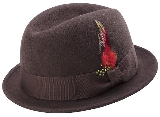 0e1b444a8a3c4 MONTIQUE Men s Center Crease Stingy Snap Brim Hard Felt Fedora Hat ...