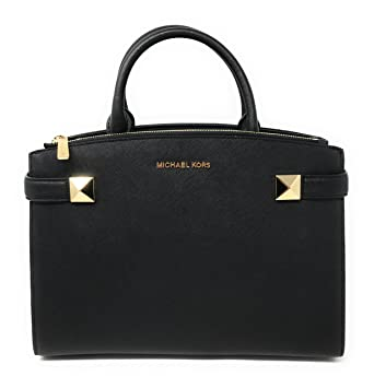 970eeb71c07e Image Unavailable. Image not available for. Color: Michael Kors Karla  Medium EW Leather Satchel Bag in Black
