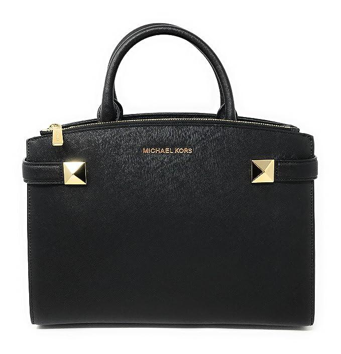 60dc21dd97a9 Michael Kors Karla Medium EW Leather Satchel Bag in Black: Amazon.ca:  Clothing & Accessories
