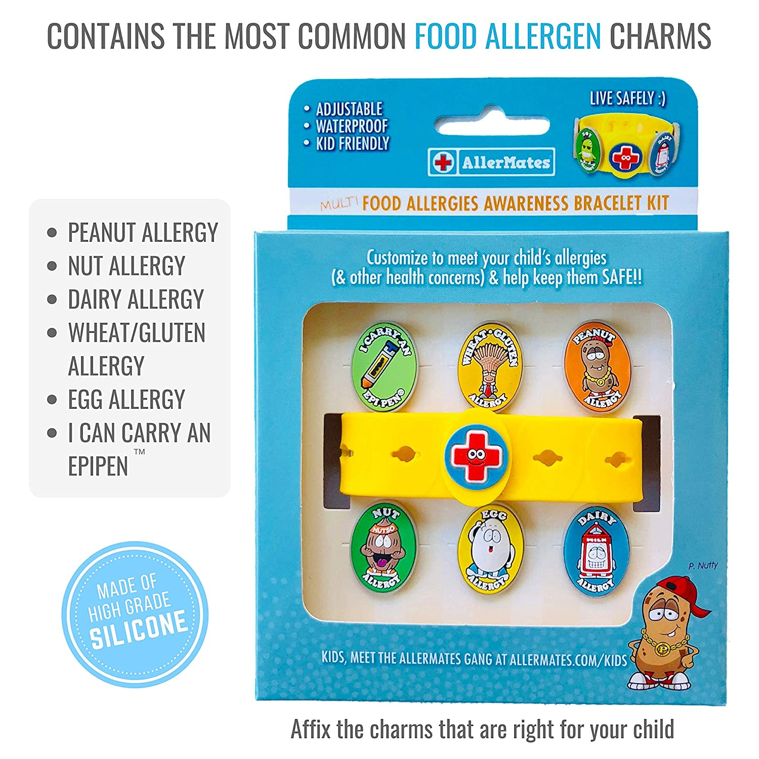 4d683bd80 Amazon.com: Food Allergy Bracelets for Kids – Bright, Fun Medical Charm Kit:  Yellow Silicone Bracelet, Multiple Food Allergy Charms: Peanut, Nut, Dairy,  ...