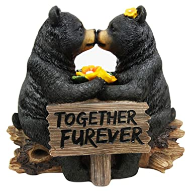 Ebros Romantic Black Bear Couple Kissing by Wooden Log Statue 7  Tall Whimsical Black Bear Family Together Furever Decorative Figurine