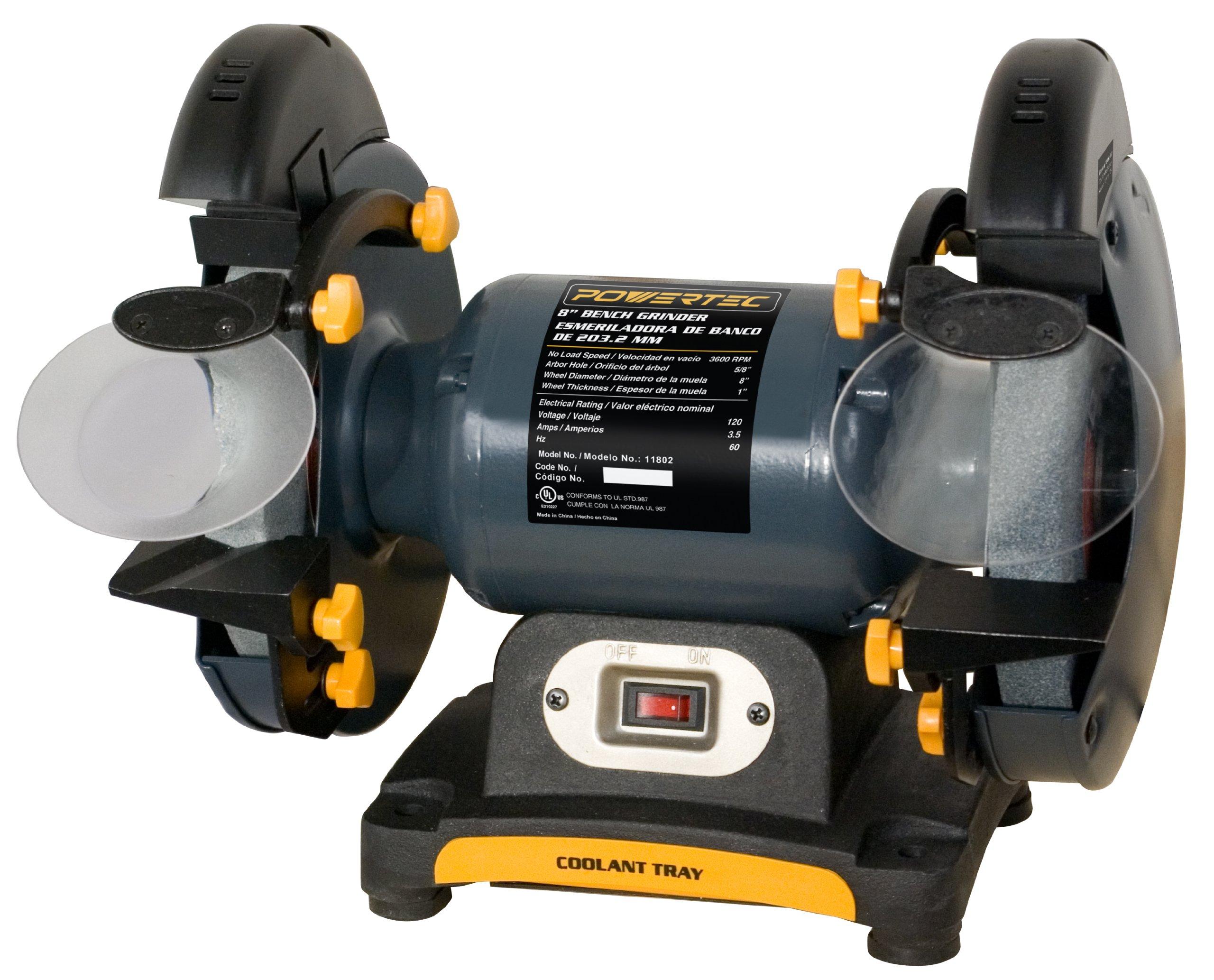 POWERTEC BG800 Bench Grinder, 8-Inch