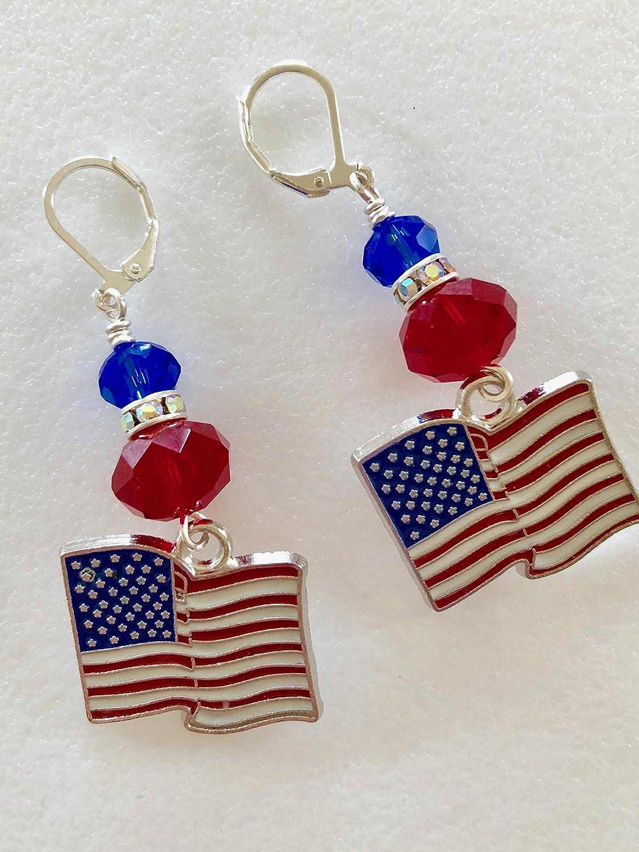 2 Pairs Red White Blue Enamel Crystal Star//Heart American Flag Earrings