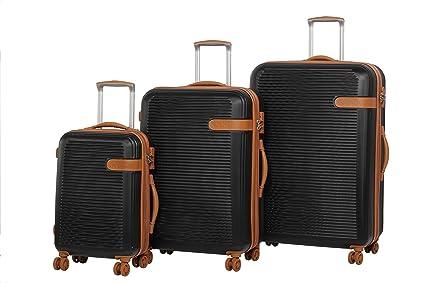 36076d709 Rock Valiant Set of 3 Hardshell Expandable Four Wheel Spinner Suitcases  Black