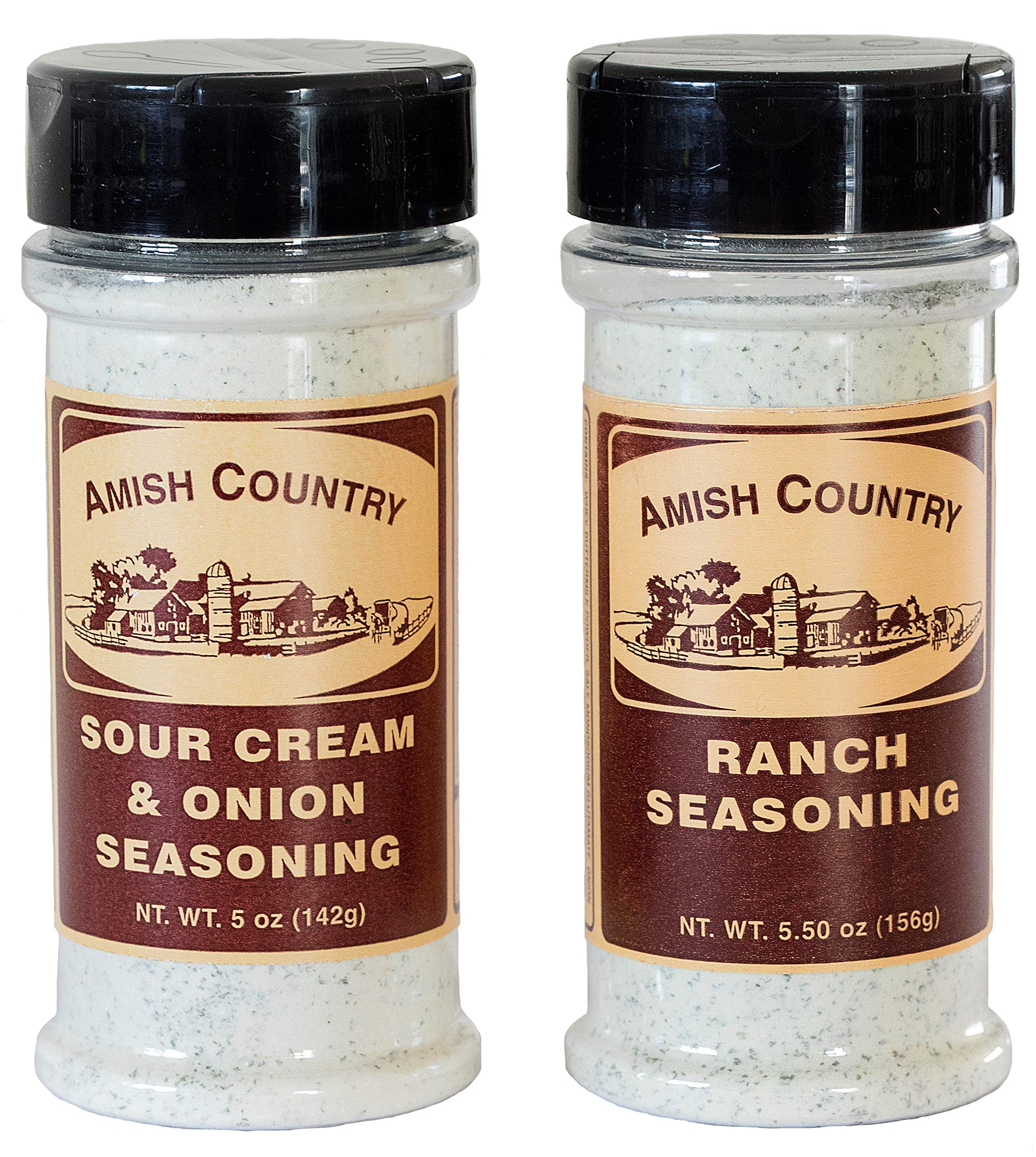 Amish Country Popcorn - Sour Cream and Onion & Ranch Popcorn Seasoning (2 Pack) Variety - Old Fashioned With Recipe Guide
